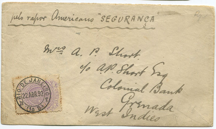 1892 (22 Apr) cover from Brazil to Grenada