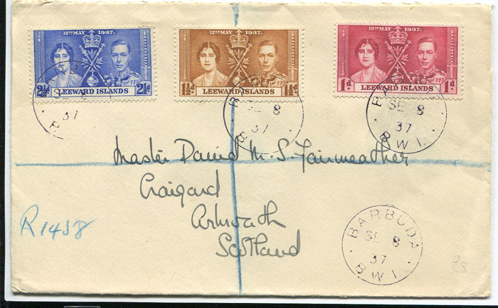 1937 (8 Sep) registered cover from Barbuda to Scotland with Leewards Coronation set tied by fine BARBUDA cds