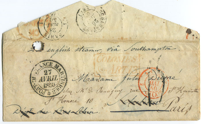 1850 (27 Apr) envelope from Martinique to Schelstadt, redirected to Paris