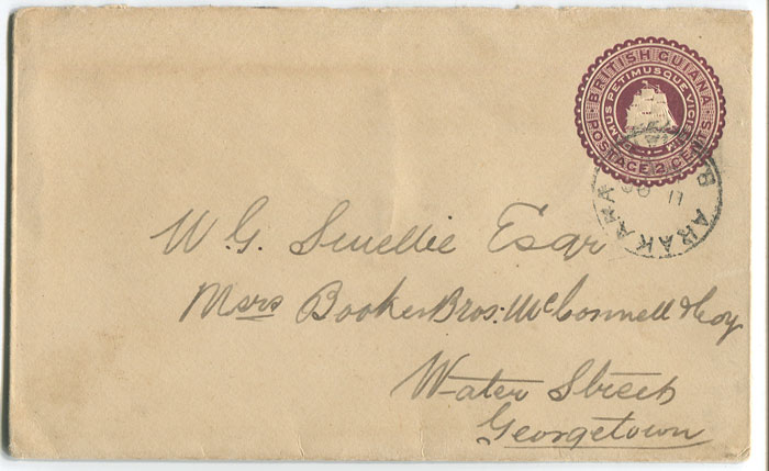 1900 British Guiana 2c postal stationery envelope used to Georgetown