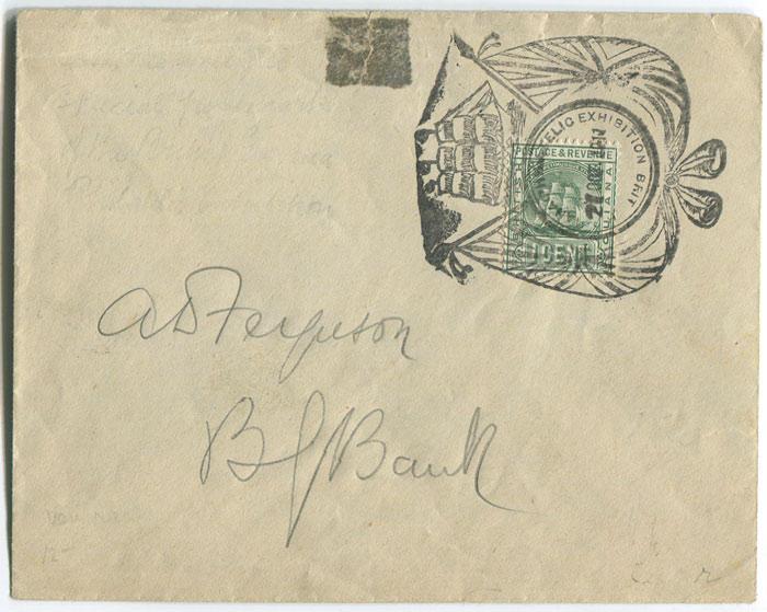 1911 British Guiana 1c on local cover