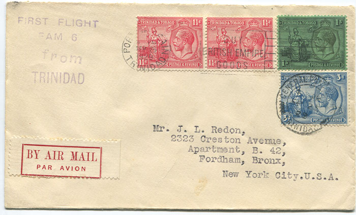 1929 (25 Sep) First flight cover Trinidad - New York