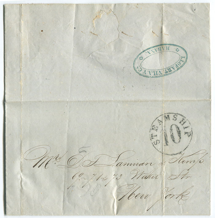 1862 EL from Trinidad, Cuba to New York