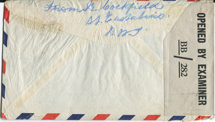 1945 airmail cover from Curacao to U.S.A.