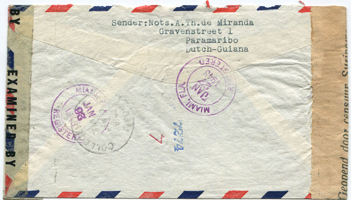 1943 (23 Jan) reg. airmail cover from Suriname to U.S.A.