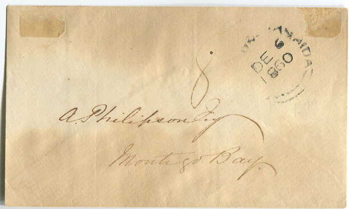 1860 (6 Dec) cover to Montego Bay