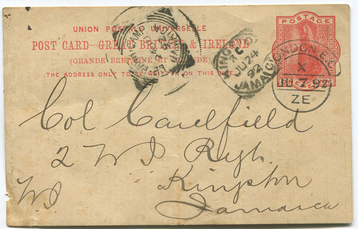 1892 GB postal stationery postal 1d postal card