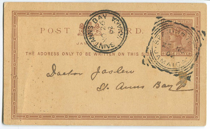 1902 Jamaica postal stationery �d postal card used to St Anns Bay