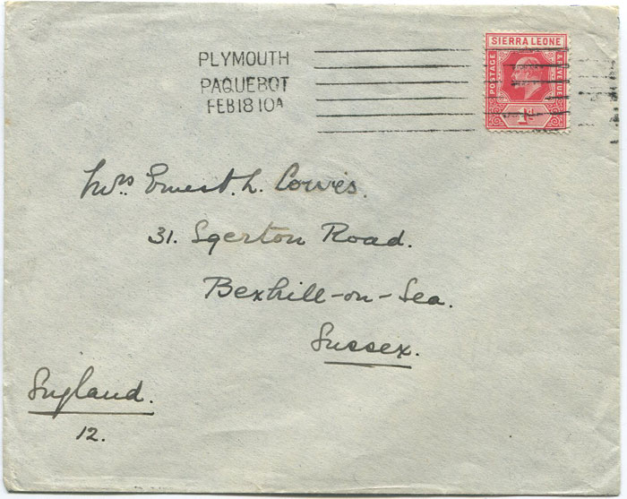 1910 cover from soldier in 2nd W.I. Regiment serving in Sierre Leone