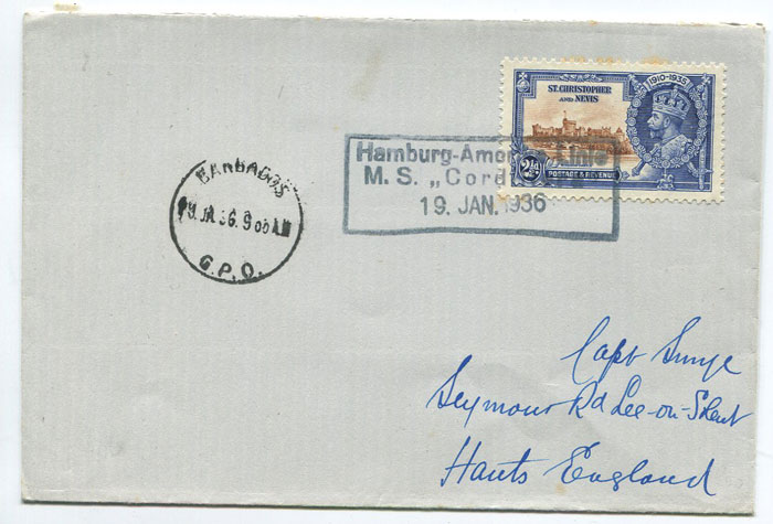 1936 (19 Jan) cover with St Kitts 1925 Jubilee 2�d tied by boxed