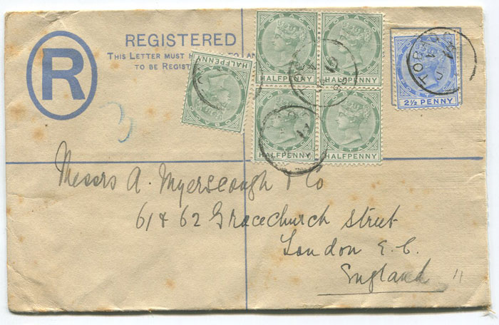 1898 Tobago 2d postal stationery registered envelope