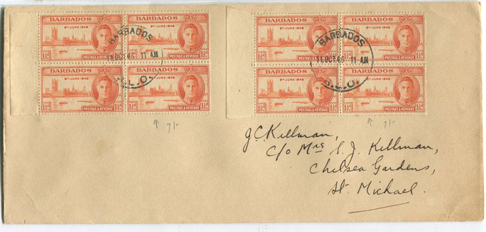1946 F/S size local cover with Barbados Victory 1�d