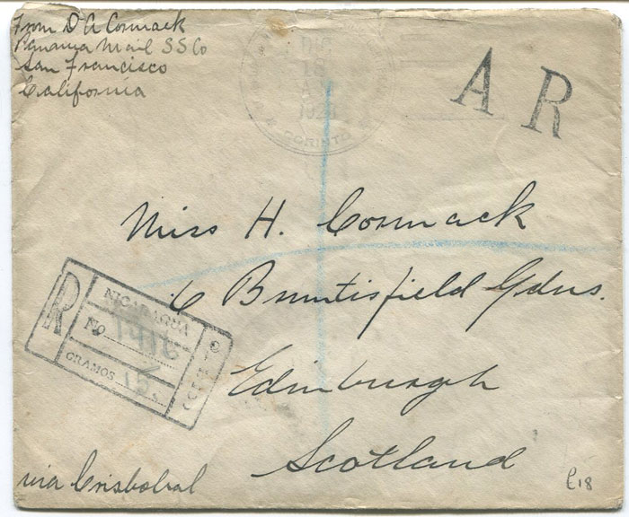 1920 registered cover from Nicaragua to Scotland with AR h/s.