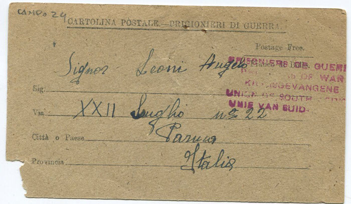 1943 printed Italian Prisoner of War postcard from South Africa to Italy