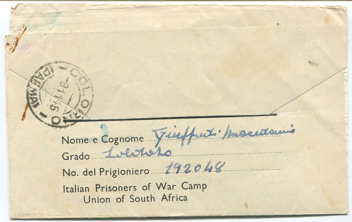 1945 printed Italian Prisoner of War letter sheet from South Africa to Italy