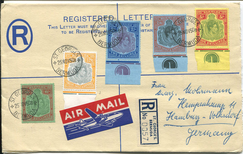 1950 (25 Nov) Bermuda postal stationery registered envelope with keyplate franking
