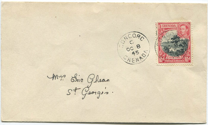 1945 CONCORD cds cancelling Grenada 1�� on local cover.