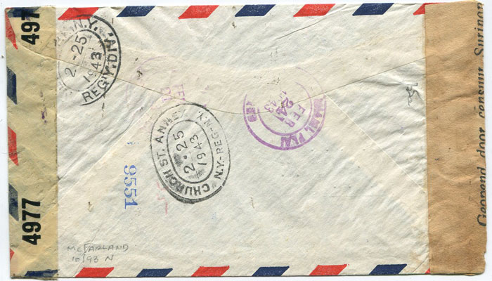1943 (17 Feb) registered airmail cover from Suriname with censor labels.