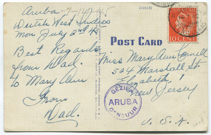1945 (14 July) Suriname postcard with censor mark.