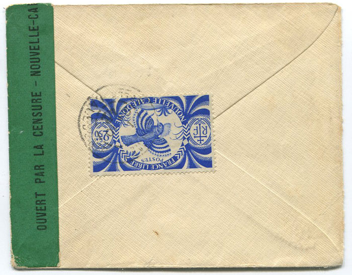 1942 (24 Oct) censored cover from New Caledonia to U.S.A.