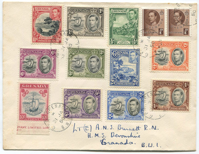 1950 Grenada 1938-50 set to 10/- on local cover.