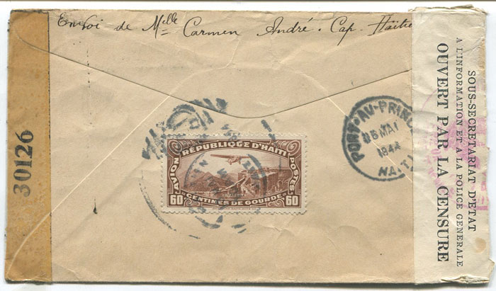 1944 cover with Haiti and U.S. censor tapes and