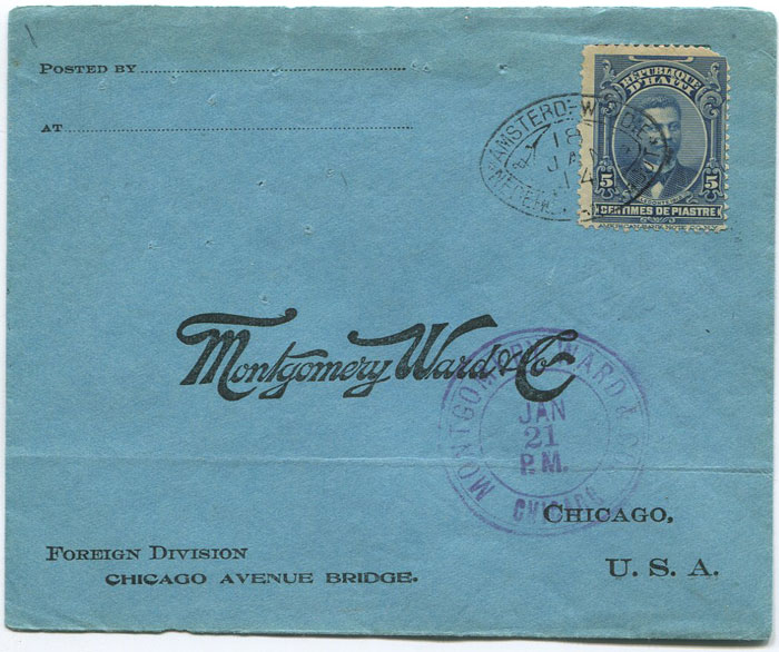 1914 (18 Jan) Haiti cover to U.S.A. with K.N.S.M. cachet.
