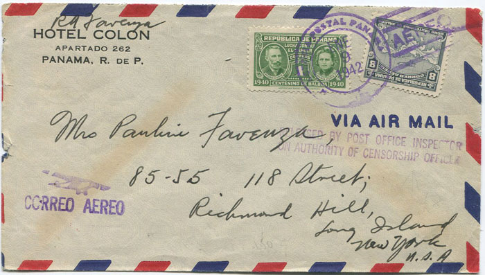 1942 Panama airmail censored cover to U.S.A.