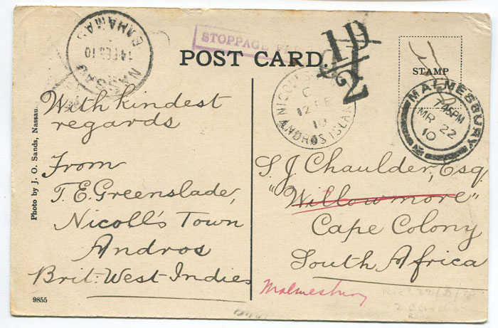 1910 NICOLLS TOWN ANDROS ISLAND cds on Bahamas postcard to South Africa.