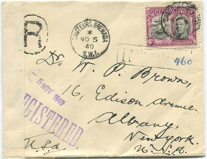 1940 OPENED BY CENSOR h/s on plain label on Grenada registered cover to U.S.A.
