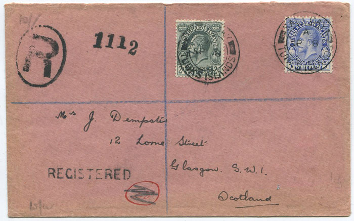 1932 SALT CAY cds on Turks Islands registered cover to Scotland.