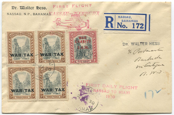 1930 (2 Jan) registered First Flight cover Bahamas - Barbuda via Miami
