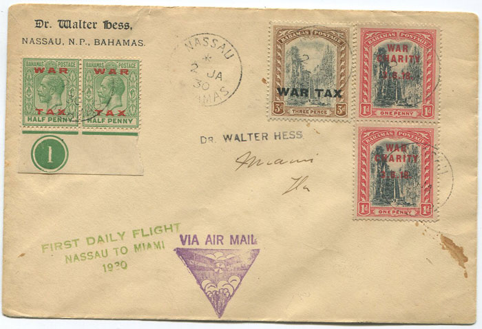 1930 (2 Jan) First Flight cover Bahamas - Miami