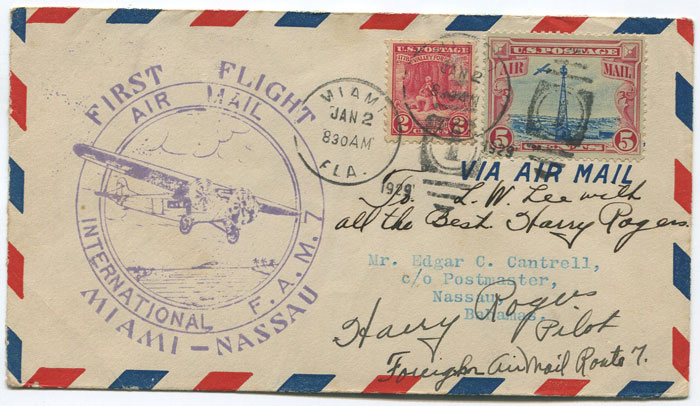 1929 (2 Jan) First Flight cover Miami - Nassau