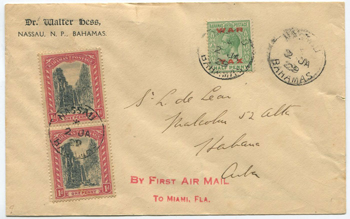 1929 (2 Jan) First Flight cover Nassau - Miami addressed to Cuba.