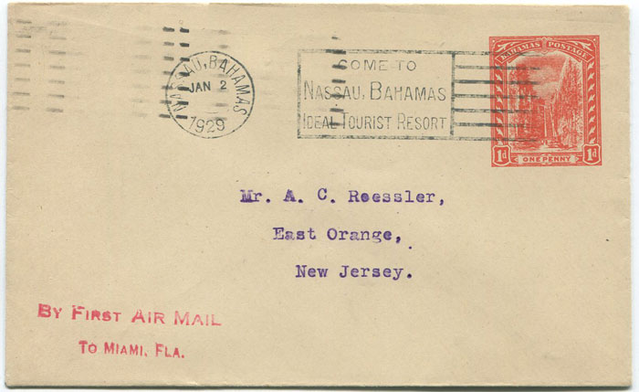 1929 (2 Jan) First Flight cover Nassau - Miami.
