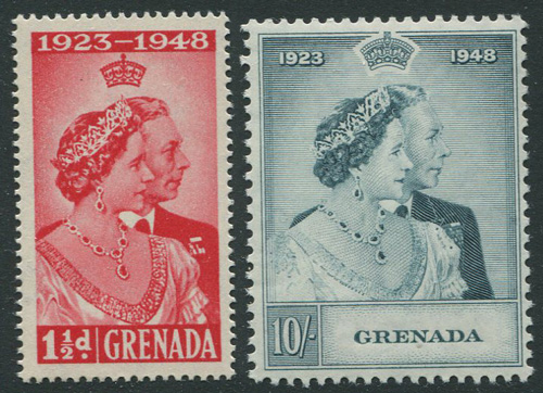 1948 Grenada Royal Silver Wedding pair (SG166-7), u.m.