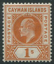 1902-3 Cayman Is. 1/- (SG7), m.m., hinge rems.