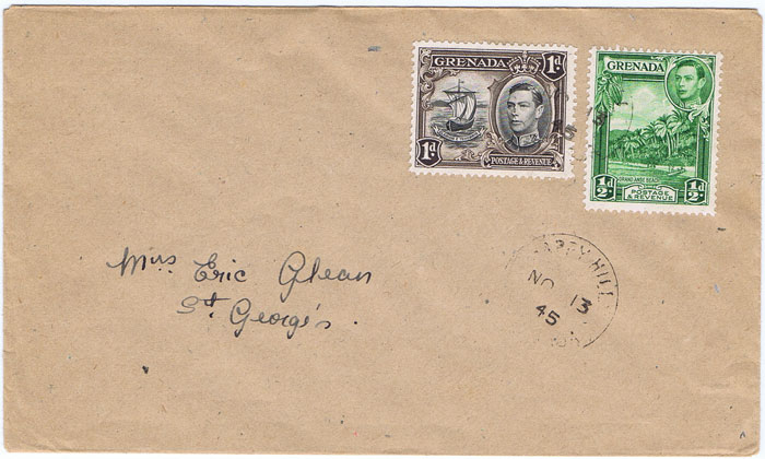 1945 (6 Oct) BIRCH GROVE GRENADA cds on local cover.