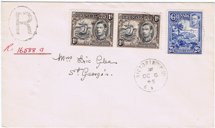 1945 (6 Oct) VICTORIA P.O. cds on local registered cover.