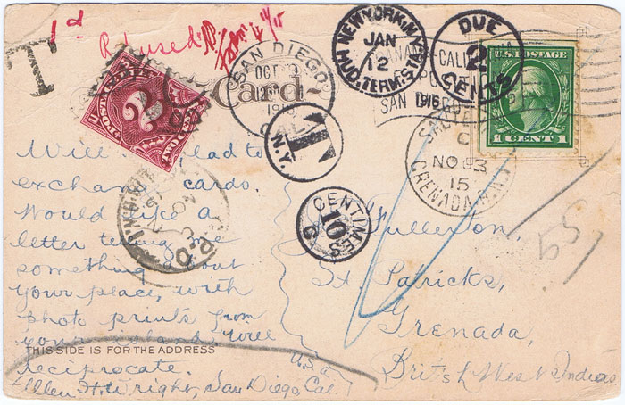 1915 (3 Nov) postcard from U.S.A. to Grenada, underfranked and with Grenada