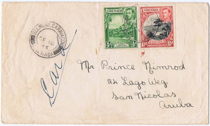 1946 (16 Dec) BELMONT CARRIACOU Grenada cds on cover to Aruba with 2d franking.