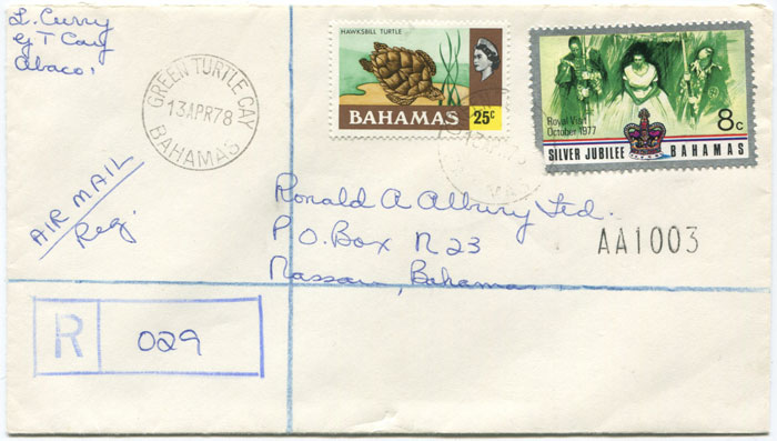 1978 GREEN TURTLE CAY BAHAMAS cds on registered cover.