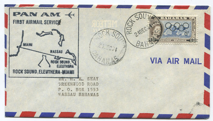 1964 Bahamas first flight cover Rock Sound, Eleuthera - Miami per Pan Am.