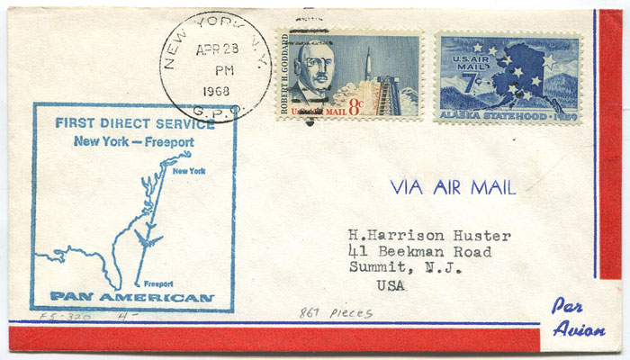 1968 first flight cover New York - Freeport, Bahamas.