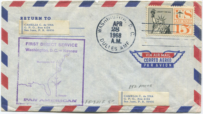 1968 First flight cover Washington - Nassau per Pan Am.