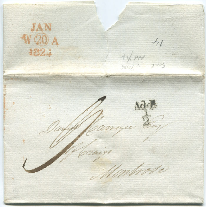 1824 (20 Jan) unboxed Add! � mark on cover from Edinburgh.