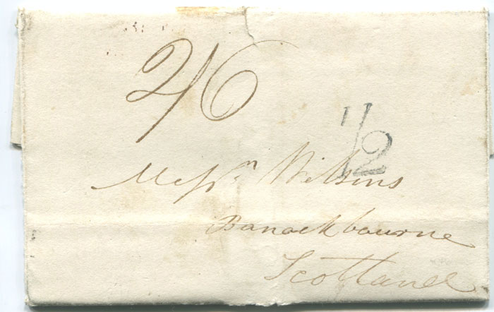 1838 (15 Jan) BRISTOL distinctive unboxed � mark on EL from Plymouth to Banockburn.
