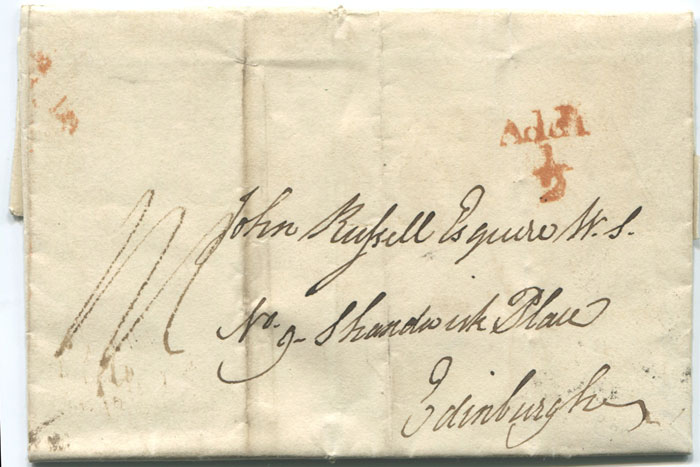 1835 (14 Jan) MANCHESTER unboxed Add! � mark in red on EL from Bath to Edinburgh.
