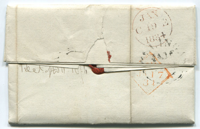 1834 (16 Jan) DUBLIN unboxed Add! � mark in on cover to Edinburgh.